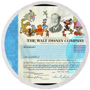 The Walt Disney Company Stock Cert Round Beach Towel