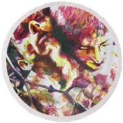 Round Beach Towel featuring the painting The Warm Breeze Behind The Sun by Rene Capone