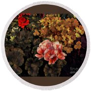 The Warmth Of Summer - Colors In The Garden Round Beach Towel by Miriam Danar