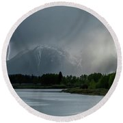 Round Beach Towel featuring the photograph The Warning by Sandra Bronstein