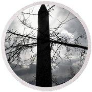 The Washington Monument - Black And White Round Beach Towel