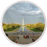 The Washington Monument And The Reflecting Pool Round Beach Towel