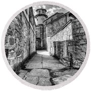 The Watch Tower Eastern State Penitentiary Round Beach Towel