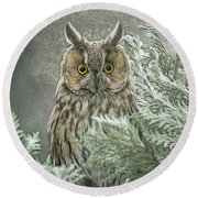The Watcher In The Mist Round Beach Towel
