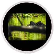 The Watcher In The Water Round Beach Towel