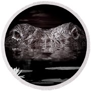 The Watcher In The Water Round Beach Towel by Mark Andrew Thomas