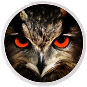 The Watcher - Owl Digital Painting Round Beach Towel
