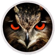 The Watcher - Owl Digital Painting Round Beach Towel