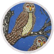 The Watchers Of The Night Round Beach Towel