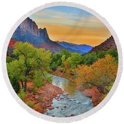 The Watchman And The Virgin River Round Beach Towel