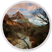 Round Beach Towel featuring the photograph The Watchman At Sunset by Daniel Woodrum