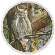 Round Beach Towel featuring the painting The Watchman by Mike Brown