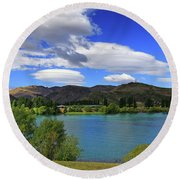Round Beach Towel featuring the photograph The Water Beckons by Nareeta Martin