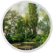 The Water Garden Round Beach Towel