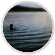 The Water Is Fine Round Beach Towel