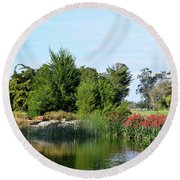 Round Beach Towel featuring the photograph The Water On Number One Santa Maria Country Club by Barbara Snyder