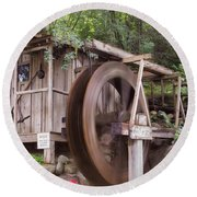 The Water Wheel Keeps Turning ... Round Beach Towel