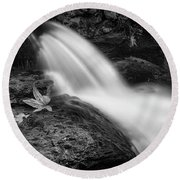 Round Beach Towel featuring the photograph The Waterfall In Black And White  by Saija Lehtonen