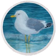 The Water's Cold Round Beach Towel