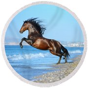 The Wave. Andalusian Horse Round Beach Towel by Ekaterina Druz