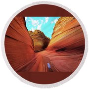 Round Beach Towel featuring the photograph The Wave Arizona by Norman Hall