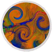 The Wave Of Truth 2 Gold Round Beach Towel