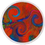 The Wave Of Truth 2 Red Round Beach Towel