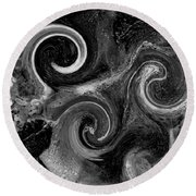 The Wave Of Truth Bw Round Beach Towel