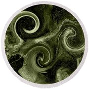 The Wave Of Truth Green Round Beach Towel