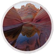 The Wave Reflection Round Beach Towel by Jonathan Davison