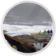 Round Beach Towel featuring the painting The Wave Watchers by Dominic White