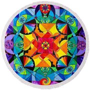 The Way - Arcturian Blue Ray Grid Round Beach Towel
