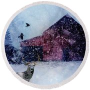 The Way Of Winter Rustic Barn Deer Round Beach Towel by Michele Carter