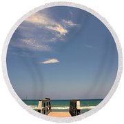 The Way Out To The Beach Round Beach Towel
