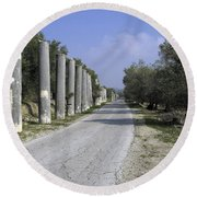The Way To Sebastia Round Beach Towel