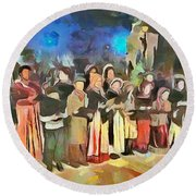 Round Beach Towel featuring the painting The Way We Were - Christmas Caroling by Wayne Pascall