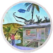 Round Beach Towel featuring the painting The Way We Were - Flying Kite by Wayne Pascall