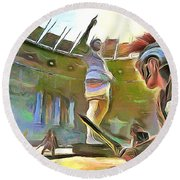 Round Beach Towel featuring the painting The Way We Were - Gladiators by Wayne Pascall