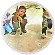 Round Beach Towel featuring the painting The Way We Were - Pitching Marbles 2 by Wayne Pascall