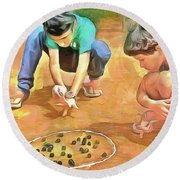 Round Beach Towel featuring the painting The Way We Were - Pitching Marbles by Wayne Pascall