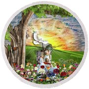 The Weary Warrior  Round Beach Towel by Dolores Develde