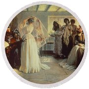 The Wedding Morning Round Beach Towel