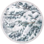 The Weight Of Winter Round Beach Towel