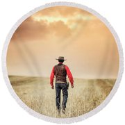 The Westerner Round Beach Towel