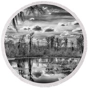 The Wetlands Round Beach Towel by Howard Salmon
