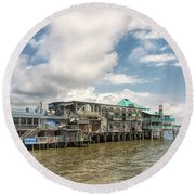 Round Beach Towel featuring the photograph The Wharf At Cedar Key by John M Bailey