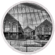 The Wharf Cardiff Bay Mono Round Beach Towel by Steve Purnell