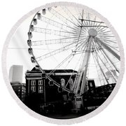 The Wheel Black And White Round Beach Towel