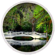 The White Bridge In Magnolia Gardens Sc Round Beach Towel
