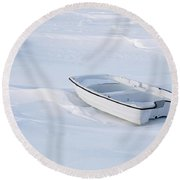The White Fishing Boat Round Beach Towel